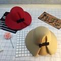 Otoño Invierno Moda mujeres Bowknot sólido Fieltro sombreros de Ala tapa sombreros Mujeres Calientes Retro señoras Sombreros de colores Dama real hembra sombreros