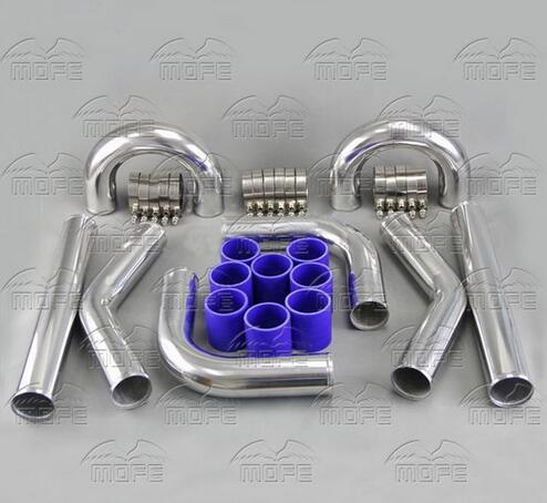 Univesal Turbo Chrome 2 51mm Aluminum Intercooler Piping Pipe + T Clamp + Silicone Hoses Kit 31x12x3 inch universal turbo fmic intercooler 3 inch piping kit toyota supra mkiii mk3 7mgte