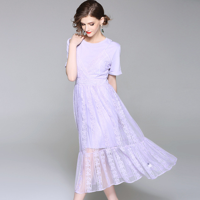 6b2eb510be2 Summer Dress Light purple Women Two Pieces Set Lace Dress Eleganr Ruffles  Vestido O Neck Short sleeve Hollow Out Apricot Black