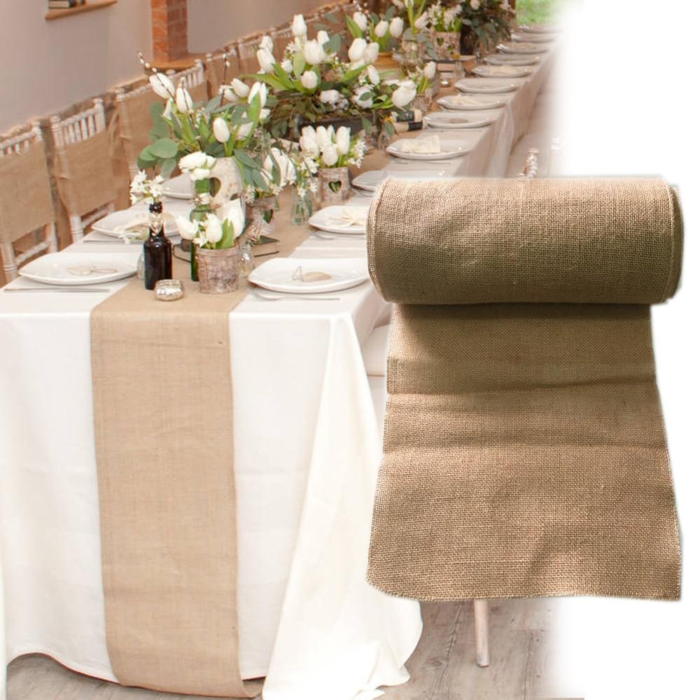 30x275 cm vintage toile de jute dentelle toile de jute chemin de table naturel jute pays. Black Bedroom Furniture Sets. Home Design Ideas