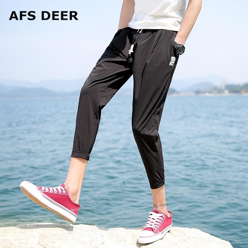 Casual Harem Pant Man Solid Hip Hop Fashion Pants Casual Sweatpants Pants Mid Waist Trousers Male Loose Ankle Length Pants