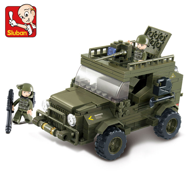 Model building kits city military Army jeep 3D blocks Educational model building toys hobbies for children