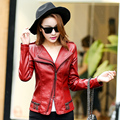 New Women Casual Basic Autumn Winter Style PU Leather Coat Zipper Jacket Top Fashion Long sleeve patchwork Plus Size