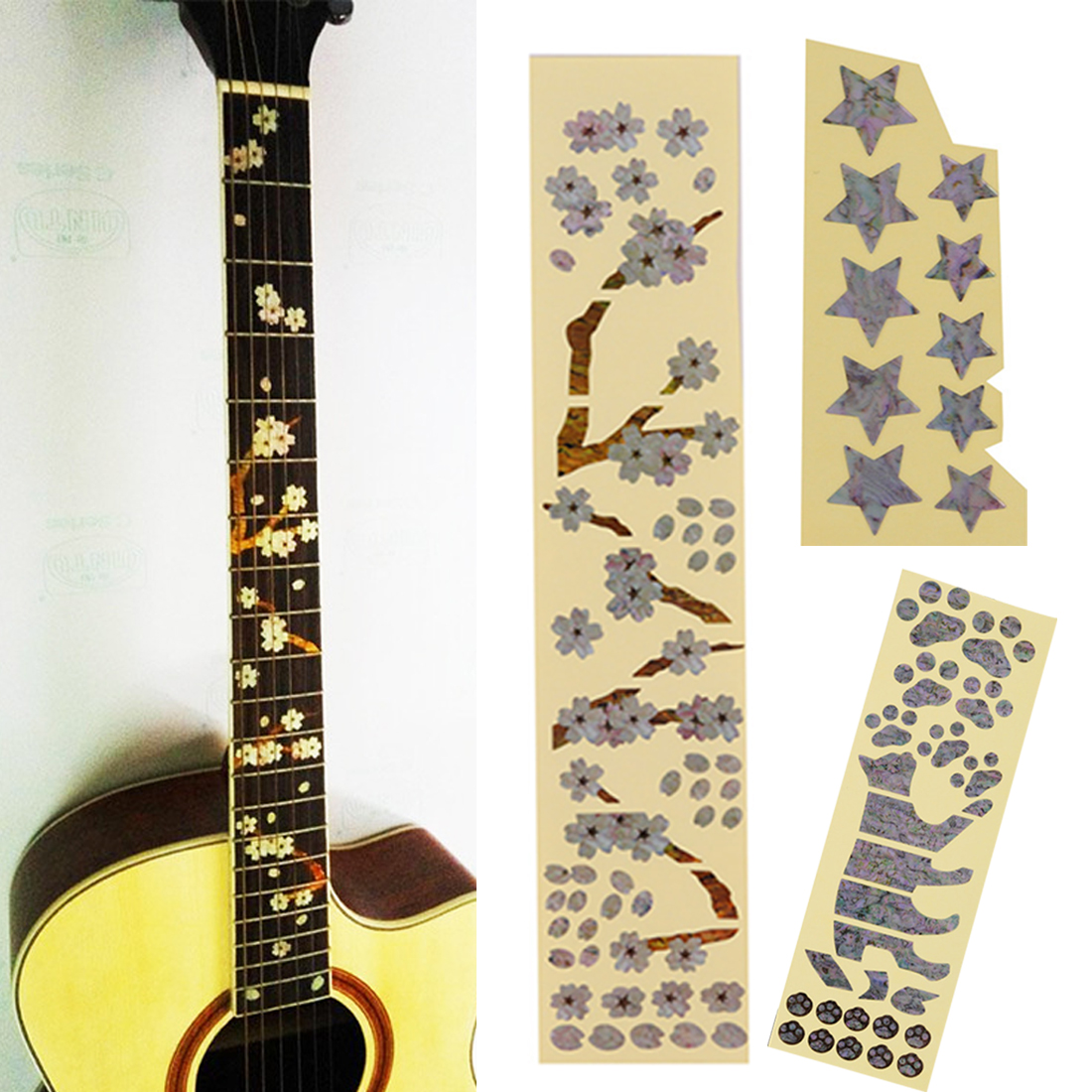 Blocks ABALONE Fretmarker Vinyl Inlay Block Sticker for Solid Hollow Body GUITAR