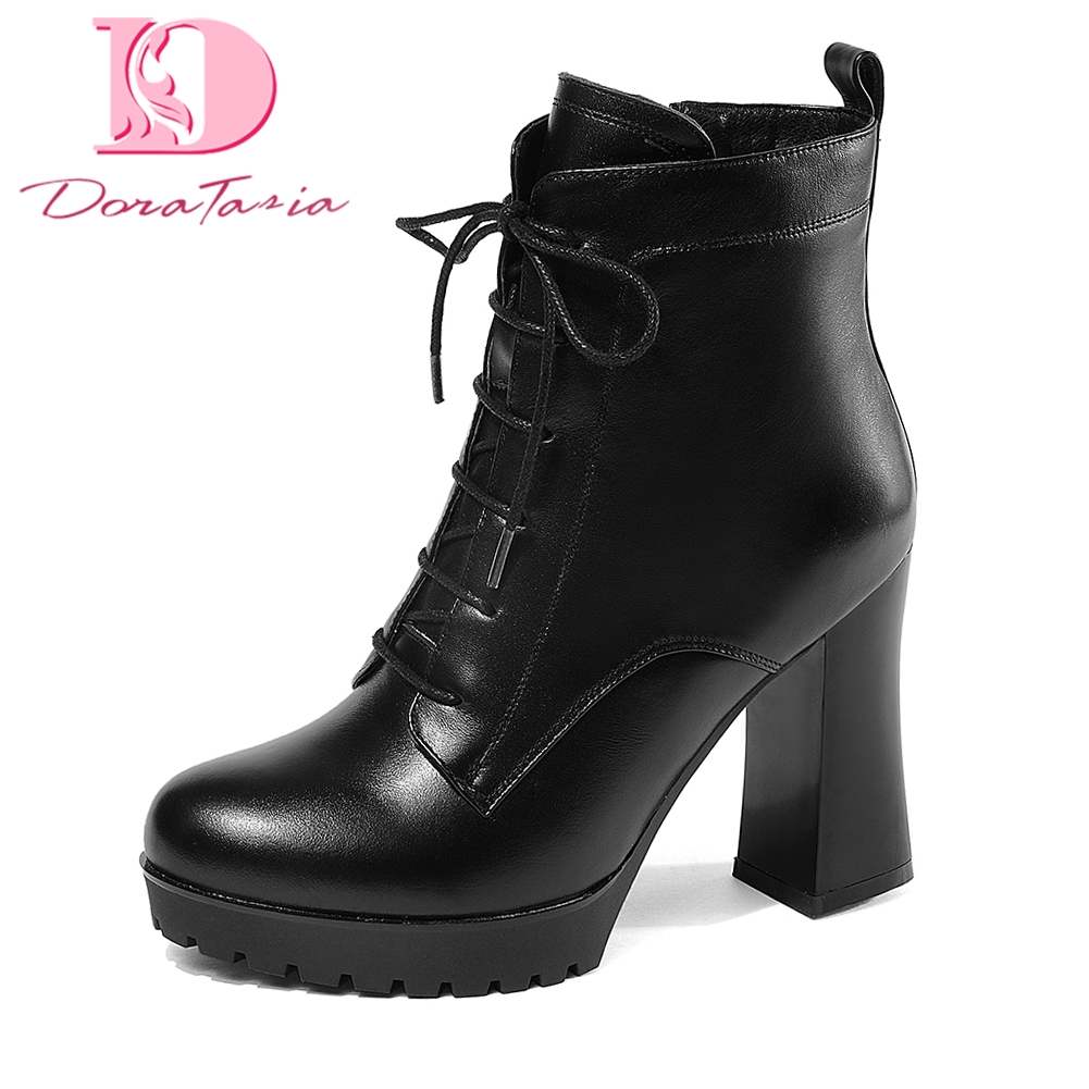цена на Doratasia plus Size 33-43 Genuine Leather Zip Up Ankle Boots Woman Shoes Chunky high Heels Add Fur Winter Boots Shoes Women