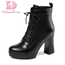 Doratasia plus Size 33-43 Genuine Leather Zip Up Ankle Boots Woman Shoes Chunky high Heels Add Fur Winter Boots Shoes Women