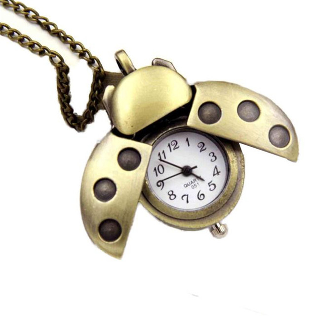 Womens Quartz Pocket Watch 1 PC Stylish Keychain Vintage Watch Necklace Bronze L