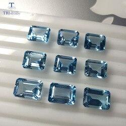 Tbj, doğal gökyüzü topaz oct10 * 14 ard 9ct için 925 ayar gümüş takı montaj, % 100% doğal gökyüzü topaz gevşek değerli taşlar