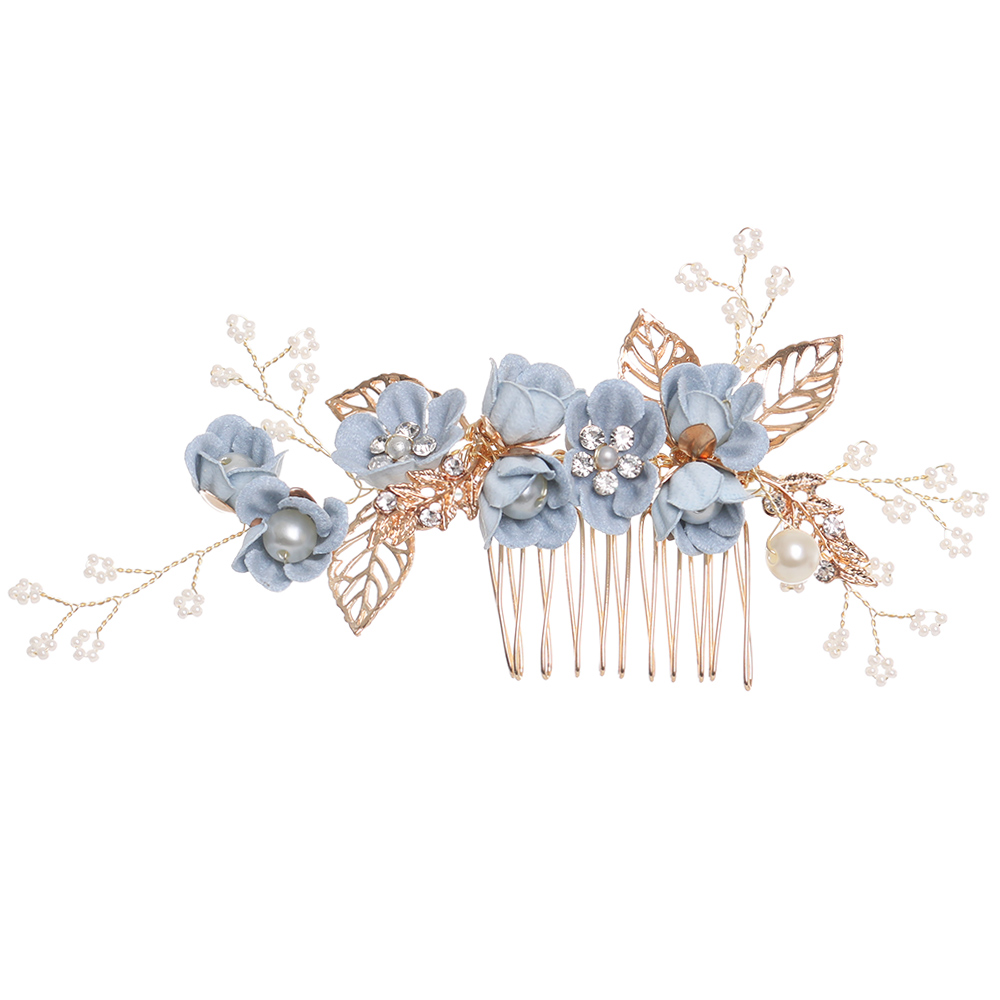 Us 0 77 35 Off Romatic Blue Flower Festival Wedding Hair Combs Pearls Hair Pins Prom Bridal Wedding Hair Accessories Gold Leaves Hair Jewelry In