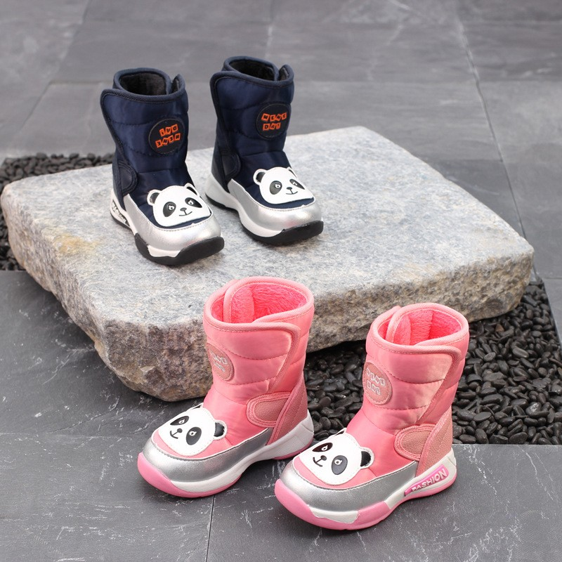 Winter Warm Little Kids Shoes Boys Boots For Girls Fashion Baby Shoes Panda Pattern Toddler Baby Girl Boy Waterproof Snow Boots popular baby boy boat shoes toddler moccasins shoes kids shoes wholesale shoes for boys