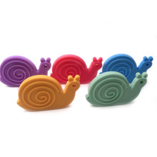 3pcs Organic Teether Feature Smooth Finish Silicone Snail Ecofriendly Non-toxic Raw Silicone Teething Toys Pendant Baby Teether