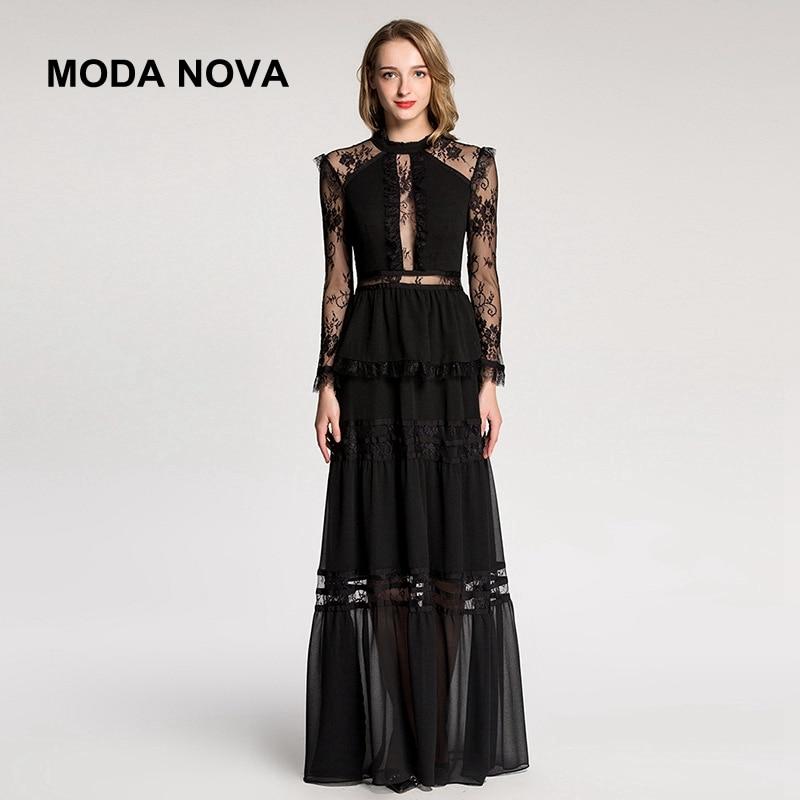 3b7836dfe884 MODA NOVA Runway Women Elegant Sexy Perspective Lace Long Sleeve Maxi Dress  2018 Autumn Black White Pink Party Dress Vestido-in Dresses from Women s ...