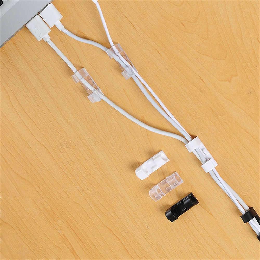 20 Cái/gói Tự Dính Kẹp Cố Định Tổ Chức Đường Dây Cáp USB Cáp Kẹp Khóa Đa Năng Siêu Tốc Nhanh Giá Đỡ Tự Động