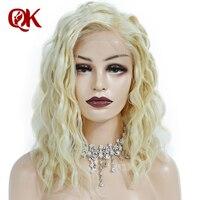 Queenking волос 180% Плотность платиновая блондинка короткий Боб Синтетические волосы на кружеве человеческих волос парики предварительно выщип