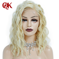 Queenking Hair 180% Density Platinum Blonde Short Bob Lace Front Human Hair Wigs Preplucked Natural Hairline Brazilian Remy Hair
