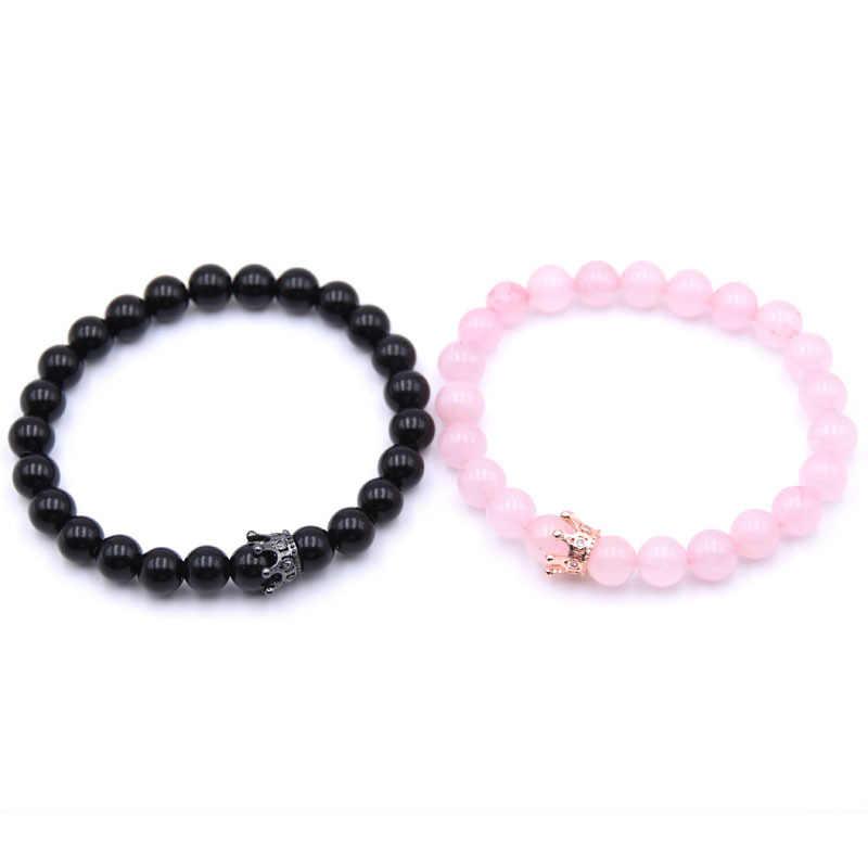 Moda de nova 2 peças/set de pedra natural pulseira coroa senhoras amantes de distância dos homens em ouro rosa e prata pulseira elástica je