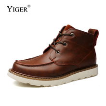 YIGER New Men Martins boots male ankle Genuine Leather Man Tooling Mens Casual lace-up shoes Spring/Autumn  0236