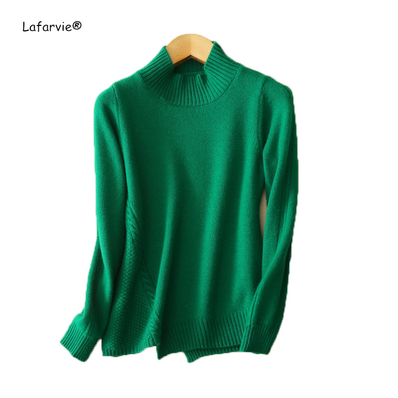 Lafarvie Winter New Fashion Cashmere Women Warm Solid Long Sweaters Casual Full Sleeve Pullovers Computer Knitted Tops