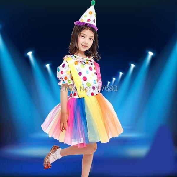 Girls clown dress Joker Wear for girl Kids Polka Dots Cosplay costume 20c6d5c56