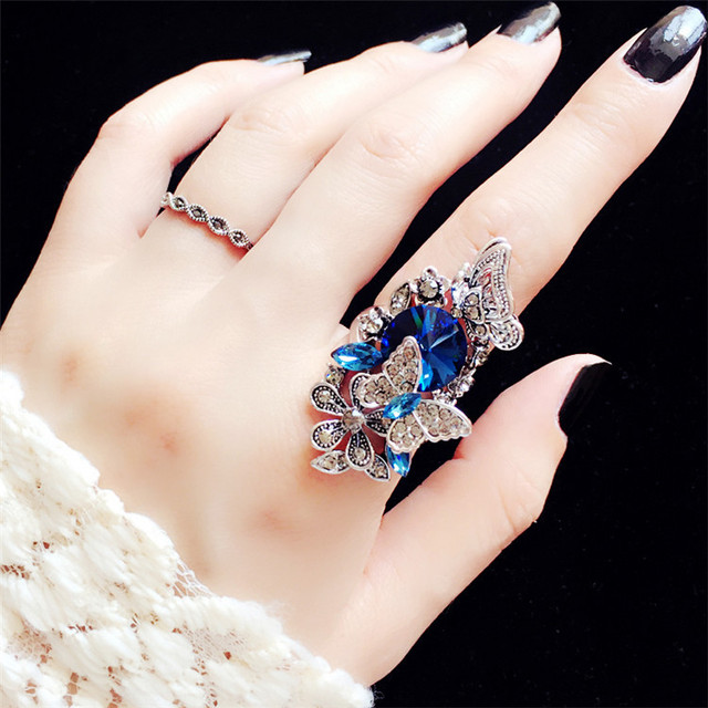 2pcs/set European Index Finger Wedding Rings Female Court Vintage Big Gem Crysta
