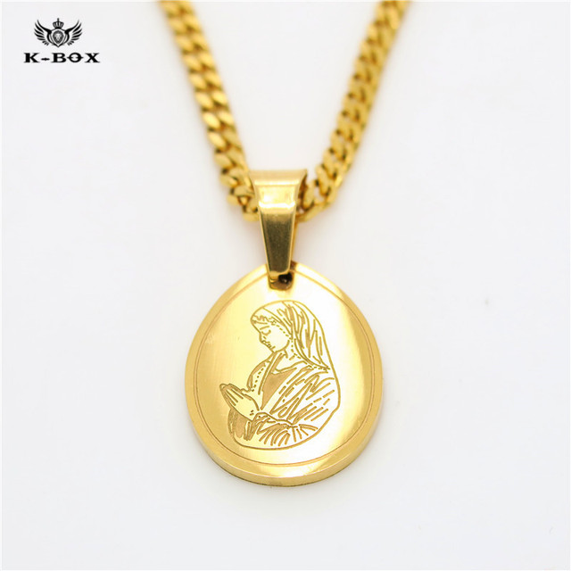 Womens golden virgin mary guadalupe micro pendant necklace womens golden virgin mary guadalupe micro pendant necklace stainless steel water drop shape notre dame necklace aloadofball Images