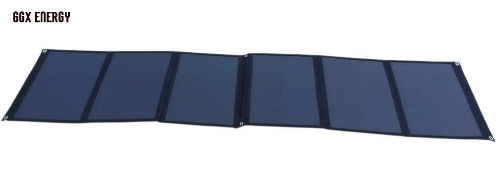 GGX ENERGY 120Watt SUNPOWER Folding Solar Panel Charger Cloth Bag for Laptop/12V Battery Portable Power for Camper 4WD Tourer RV