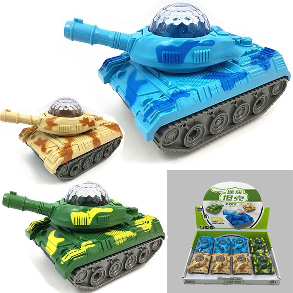 LeadingStar 8Pcs Mini Electric Tank Toy with Flashing Light Universal Camouflage Tank Model Toys Gift for Kids Random Color mini handheld 17 6 string electric guitar toy random color 2 aa