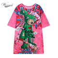 Autumn New Brand Cartoon Bear Print Short Sleeve Long T-shirt Harajuku Casual Fashion Loose Tees Jumper  TS-085