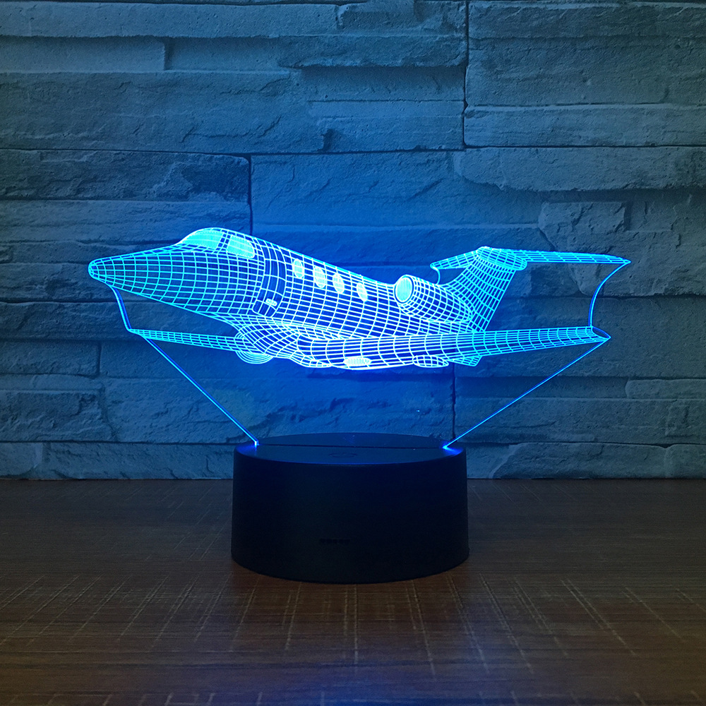 Jet 3D Night Light LED 7 Colors Changing Air Plane Table ...