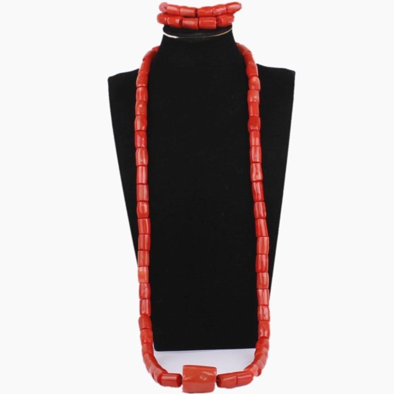 Dudo Jewelry Orange or Red Jewellery Set African Genuine Real Coral Beads Jewelry Sets Nigerian Wedding Groom Bracelet NecklaceDudo Jewelry Orange or Red Jewellery Set African Genuine Real Coral Beads Jewelry Sets Nigerian Wedding Groom Bracelet Necklace