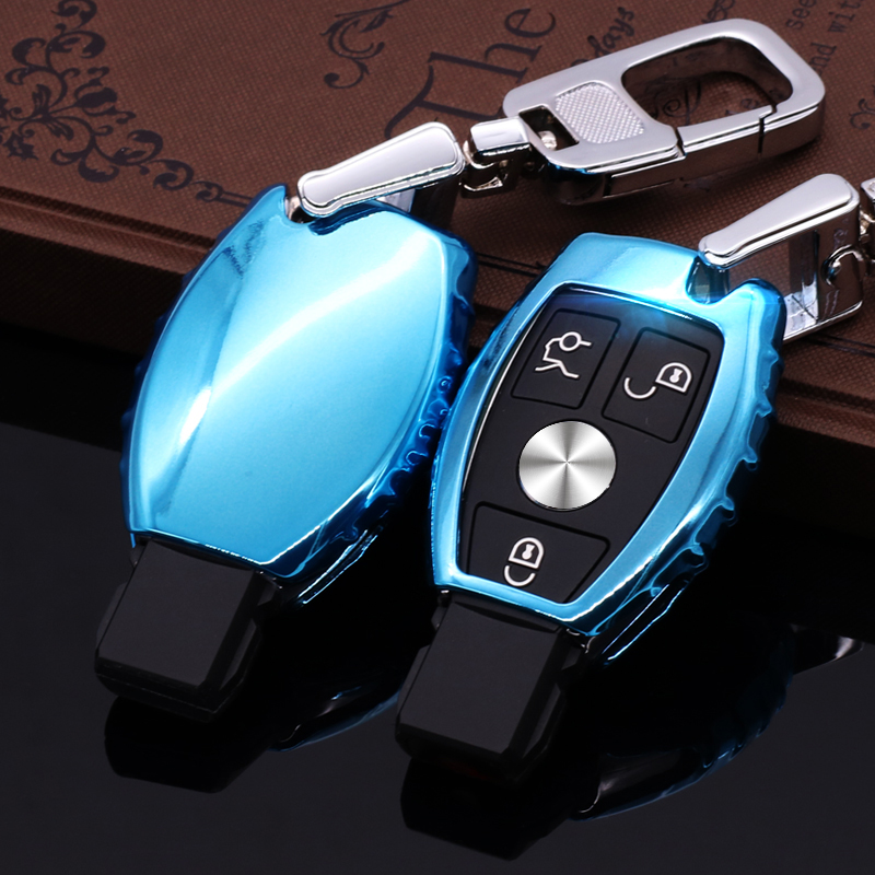 Original Design TPU Soft Rubber Car Remote Key Cover Case Shell With key ring key chain for Mercedes Benz