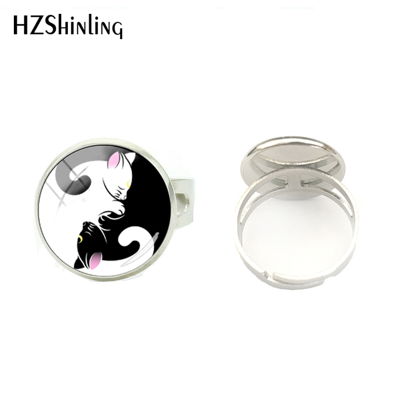 Round Ring Jewelry Cabochon Christmas-Gift Black-White Gothic Glass for Yoga-Lover Cats