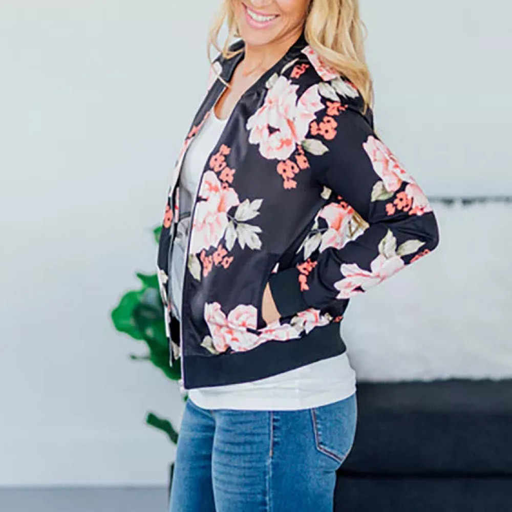 391c60a1774 ... Женские винтажные куртка с цветочным принтом женские Ретро на молнии  куртка-бомбер Повседневная Пальто  ...
