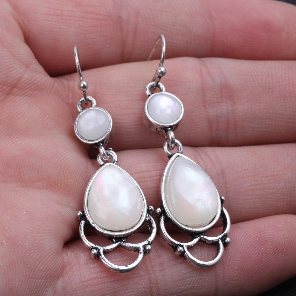 YWOSPX Elegant Imitation Moonstone Brincos Silver Color Dangle Earrings for Women Jewelry Wedding Statement Earrings Gifts Y30
