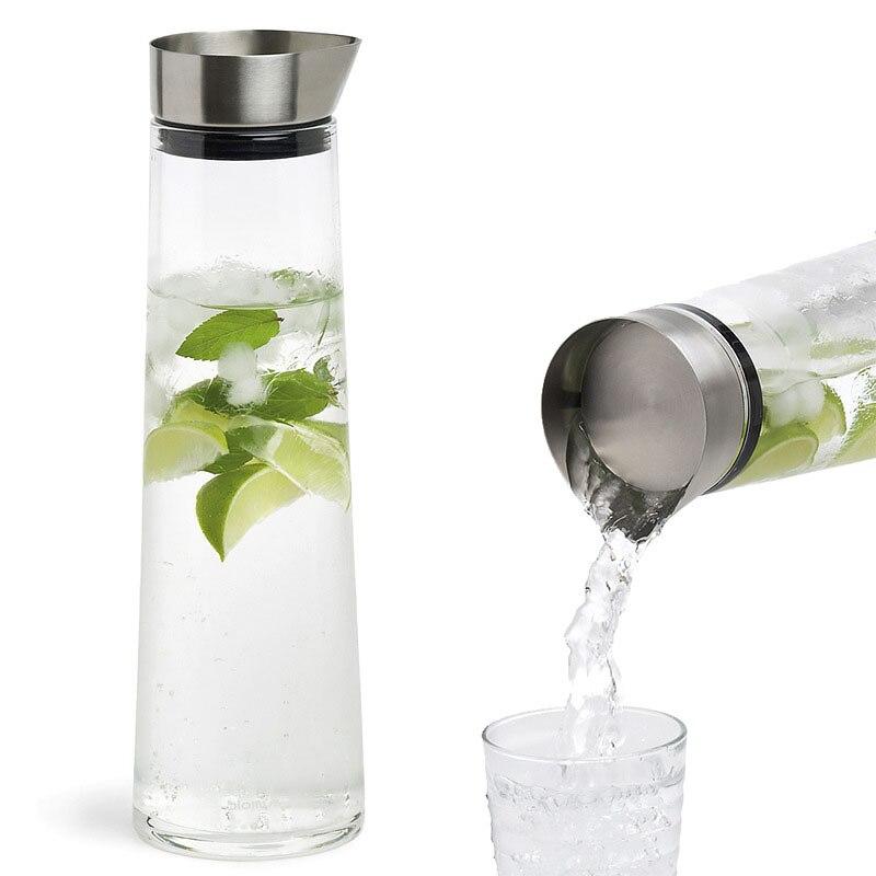 Jarro de vidro engrossado à prova de calor da alta capacidade 1000 ml/1500 ml da venda quente com tampa de aço inoxidável carafe para o suco de água quente/fria