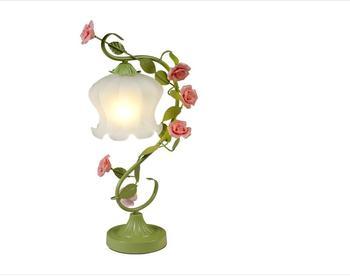 Rosa Schreibtischlampe | Weiß Grün Eisen Rosa Rose Blume Glas Tischlampe Licht Beleuchtung Vintage Hochzeit Schlafzimmer Geschenk E27 ZL366 Xy2