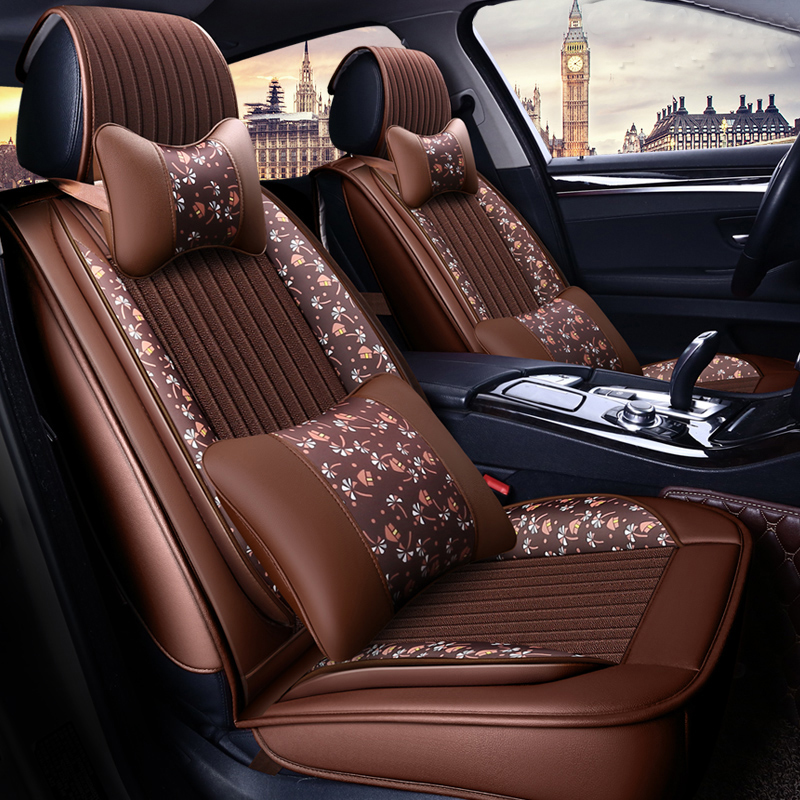 13 pièces housse de siège de voiture Set lin et cuir Automobiles housses de siège Protection Pad noir marron bleu accessoires intérieur de voiture