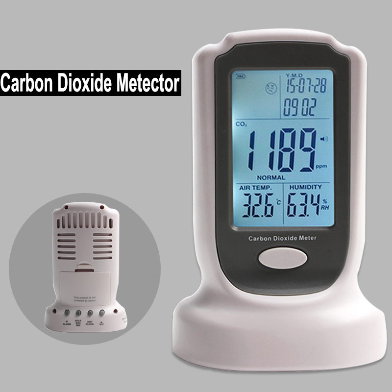 Handheld Portable Carbon Dioxide Detector CO2 gas analyzer LED Backlight Display With Sound-Light Alarm Setting 2016 new handheld formaldehyde gas detector sound alarm gas analyzer