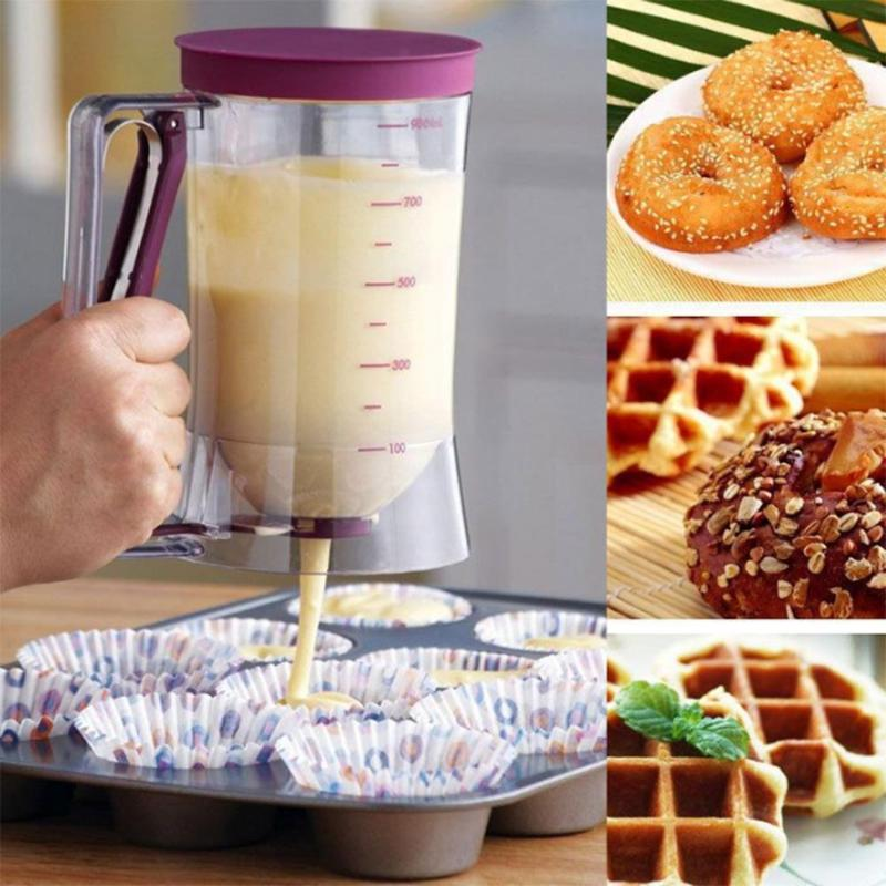 900ml Batter Dispenser Pastry Blenders with Scale Dough Cream Funnel Cup Dispenser Cupcake Blenders Egg Pancakes Bakeware Tool