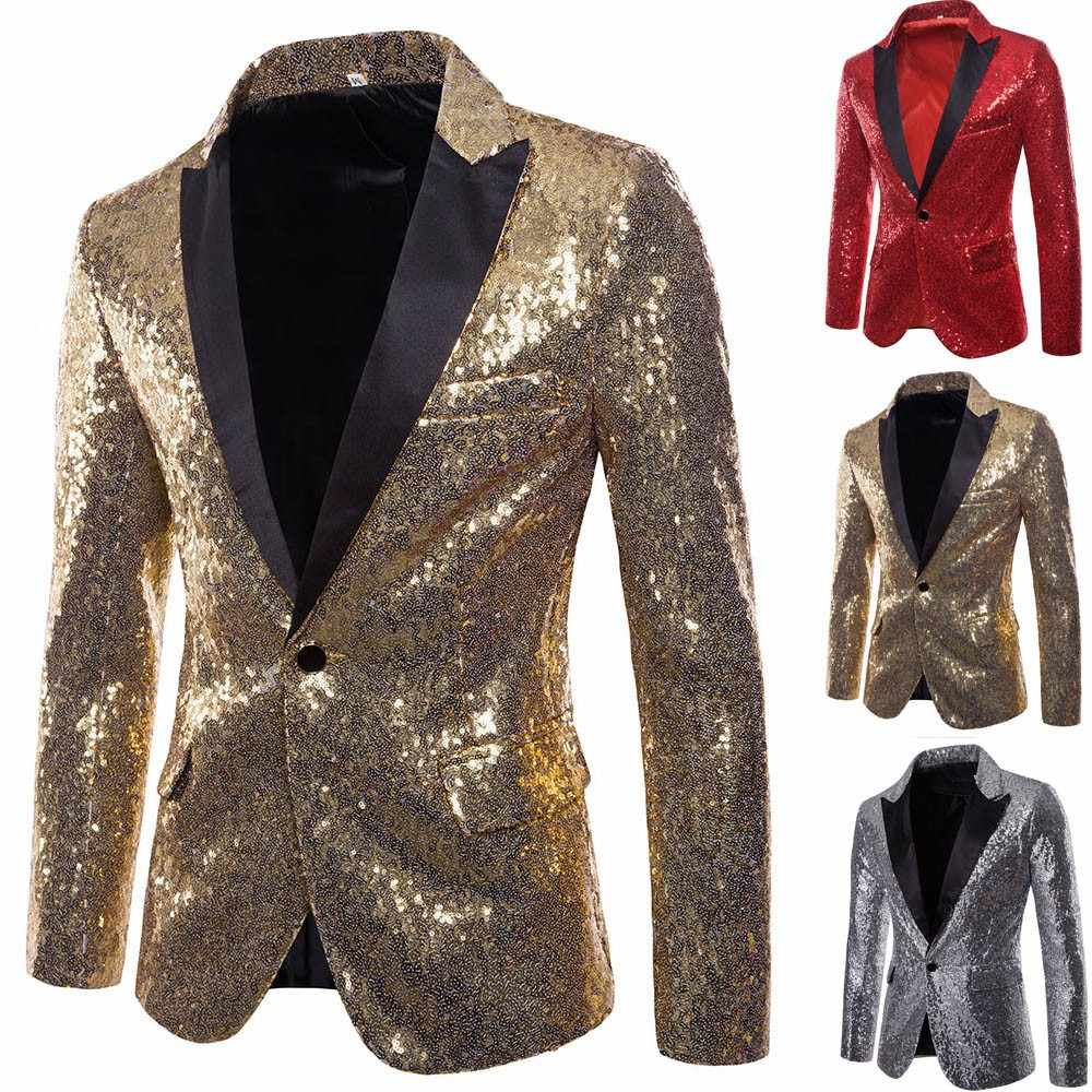 97849be41fa Shiny Sliver Sequin Jackets Blazer Men Brand New Slim Fit Jacket One Button  Suit Fit One