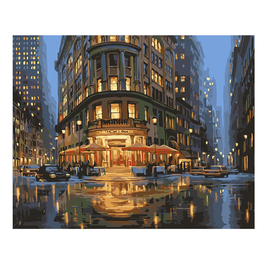 WONZOM Night City Street Painting By Numbers Oil Cuadros Decoracion Acrylic Paint On Canvas Modern 9 Type Home Decor