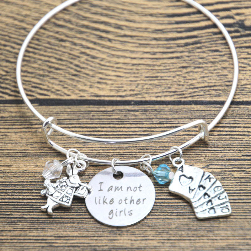 12pcs/lot Alice in Wonderland Inspired bracelet I am not like other girls Silver tone crystals bangle