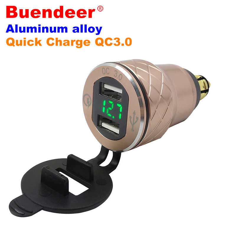 Buendeer 2 USB Motorcycle Cigarette Lighter For Triumph Tiger 800 xc Hella DIN Plug Accessories LED Display USB QC 3.0  Adapter