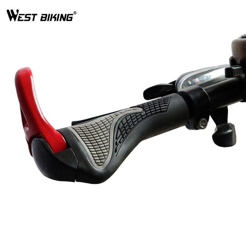 Componentes de WEST BIKING Bicicleta MTB Apertos De Borracha Alumínio Barend Bar ends Guidão de bicicleta Handle bar Ergonômico Empurre Suave Grips