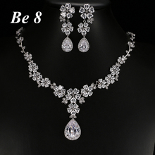 Be8 Brand Heart-shape Form Flower Cubic Zirconia Full Jewelry Set Women Bridal Gifts White Gold Color Earring Necklace Set S-013 be8 brand elegent flower shape aaa cubic zirconia drop earring top quality white gold color wedding bridal earring jewelry e 308