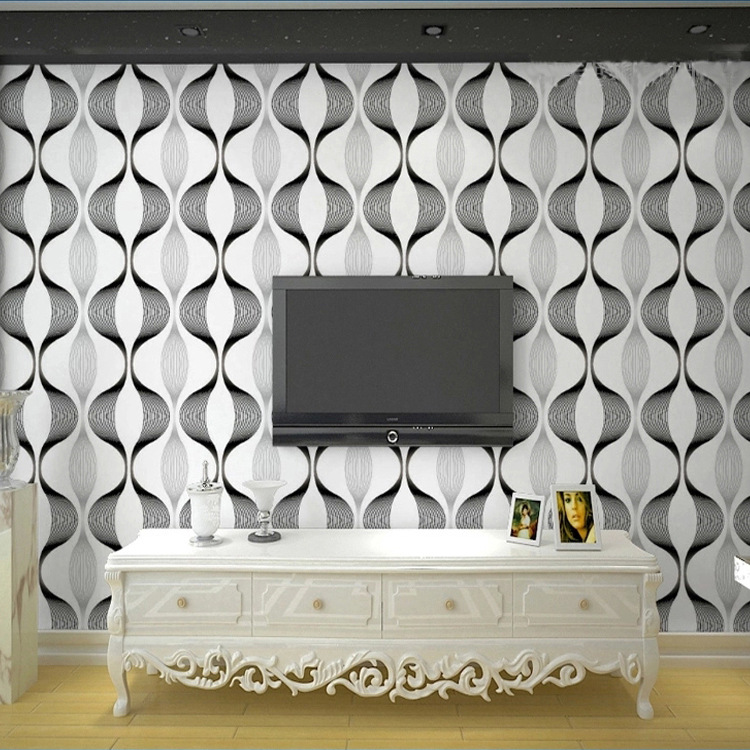 ФОТО PVC wallpaper stripes Modern and simple curves waves ripple TV sofa backdrop wave wall paper Home Family KTV Luxury wallcovering