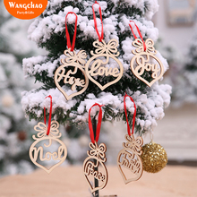 6PCS/LOT Wooden Love Christmas Tree Decorations For Home Decoration Ornaments Xmas Deals
