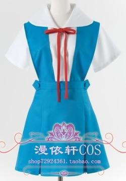 Аниме Евангелион Косплэй Ayanami Rei Cos Хэллоуин вечерние полный набор 3in1 (ремень платье + белая рубашка + галстук)