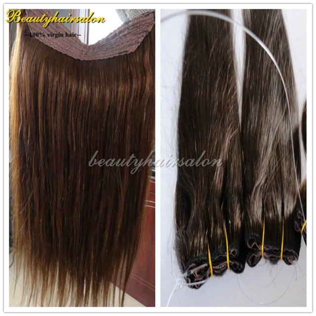 Для 18 дюймов 150 г 7А + девственница перуанский волосы прямые флип в реми наращивание волос 100% человеческих девственные гало наращивание волос 1 шт./лот