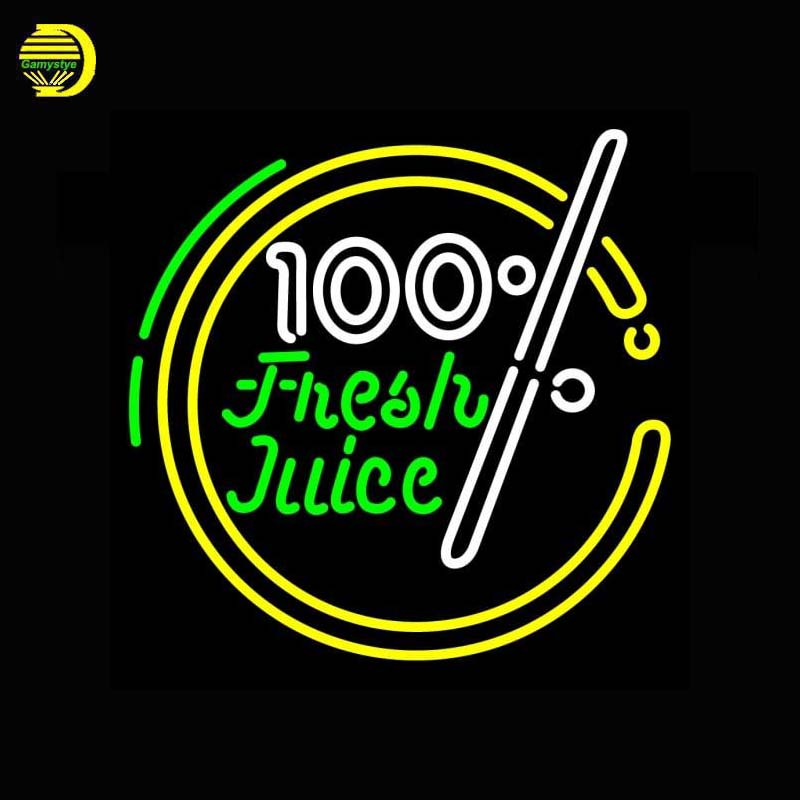 100 Percent Fresh Juice Neon Sign Neon Bulb Sign Handcrafted Shop Sign Decorate Wall Neon Light Sign Lamp Super Bright Lights